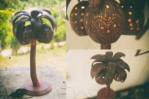Coconut Tree Shaped Table Lamp Wooden Handmade Lamp Decor Home Wood Desk Bedroom
