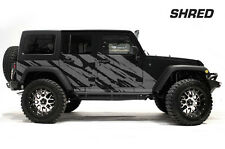 Custom Vinyl Decal Graphics Shred Wrap Kit Jeep Wrangler Rubicon 2007-16 SILVER