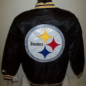 PITTSBURGH STEELERS Traditional STARTER Snap Down Jacket BLACK  S M L XL 2X