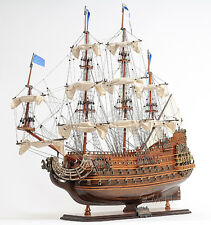 "Soleil Royal French Navy Tall Ship 36"" Built Wooden Model Sailboat Assembled"