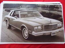 1980 CHEVROLET  MONTE CARLO  11 X 17  PHOTO  PICTURE