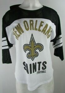 New Orleans Saints NFL Women's Mesh Short Sleeve Jersey in White & Black