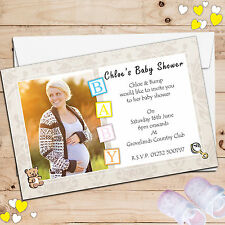 10 Personalised Boy Girl Baby Shower PHOTO SCAN Invitations N7