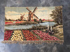 Vintage Dutch Windmill Picking Flower Field Large Tapestry Wall Hanging Rug