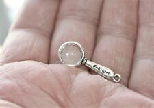 MINIATURE SILVER MAGNIFYING GLASS , 1 IN. LONG, GOOD COND. WORKS