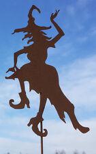 Hexe Waltraud tanzend 50x120cm Edelrost Gartenstecker Hexen Rost Metall Figur