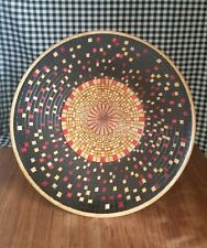 Decorative Wood Plate Platter, Hand Turned, Burned, Stained Mosaic Look, Signed