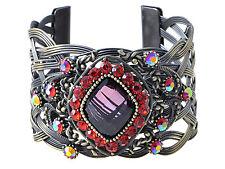 Pretty Brass Ruby Red Crystal Rhinestone Gem Cuff Bangle Bracelet Fashion Jewel