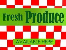 "TIN SIGN ""Fresh Produce Checkered"" Farm  Art Deco Garage Wall Decor"