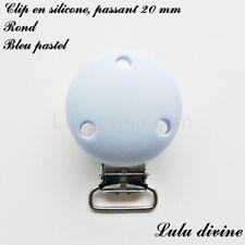 Pince / Clip en silicone, attache tétine, passant de 20 mm, Rond : Bleu pastel