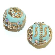 IB224 Blue w Gold 19mm Round Indonesia-Style Metal & Enamel Beads 5pc