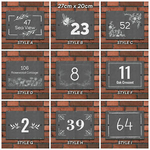 Rustic Natural Slate House Sign Plaque Door Sign Number Personalised Name Plate
