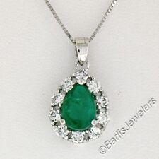 NUEVO 14k ORO BLANCO 1.23ctw PERA Emerald Un Diamante Halo Lágrima Colgante