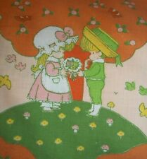 Joan Walsh Anglund Fitted Sheet 2 + Yards Fabric Peach Trees  Sweet Children