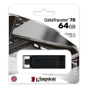 Kingston USB-C DataTraveller 70 64GB Flash Dive - Memory Stick - Black