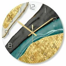 Nordic Decorative Marble Printing Wall Clock Silent Quartz Circular Home Decor