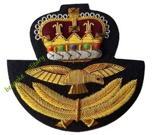 Genuine British Royal Air Force RAF Officer Issue Braided Insignia Hat Badge NEW