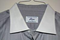 $650 Brioni Cotton Gray Dress Shirt 17.5 36 ITALY