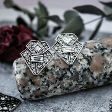 Stunning vintage art deco Gatsby white crystal statement stud earrings