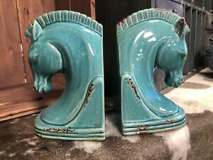Horse Head Bookends Pair Vintage style ceramic in a striking green colour Troy