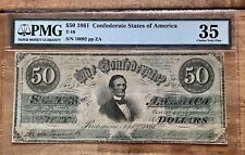 "T-16 1861 $50 CSA Confederate Note ""Jefferson Davis""-PMG 35- XF OBO"