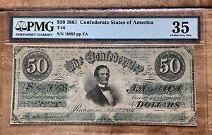 "T-16 1861 $50 CSA Confederate States Note ""Jefferson Davis""-PMG 35- XF"