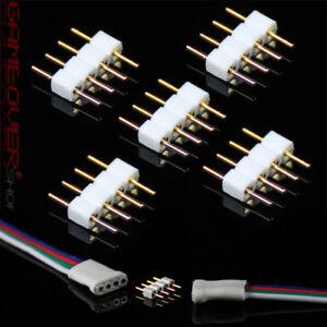 5x RGB SMD 4 Pin LED Stecker Male Verbinder Adapter Zubehör Strip Lichterkette