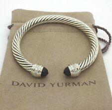 DAVID YURMAN STERLING SILVER CABLE CLASSIC 7MM BLACK ONYX WITH DIAMONDS BRACELET