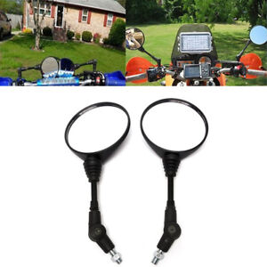 New 2Pcs Foldable Round Motorcycle Handle Bar Rear View Mirror 10mm Thread Mount