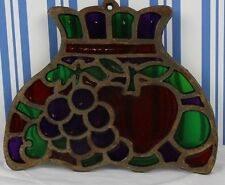 Vintage Cast Iron Trivet Stained Glass Lampshade Look Apple & Grapes