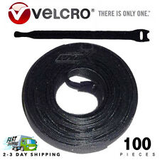 "100 VELCRO Brand Ties Cable Cord Organizer Wraps Reusable Die Cut Strap 8"" Black"