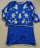 Jean Joseph Le Bon Sequin Top Skirt Set Cobalt Blue Silver Silk Sz XL Damaged