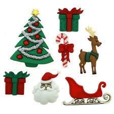 Dress It Up Buttons - 6 'Christmas Eve' Shank-Backed Buttons and Tree Decoration