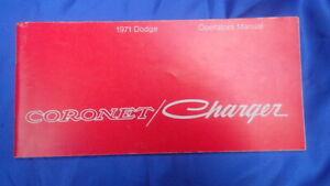 CORONET CHARGER  1971 Operators Manual ORIGINAL  Dodge # 81-270-1255   3-2-1