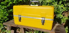 VINTAGE LARGE BT BRITISH TELECOM YELLOW CANTILEVER TOOLBOX TOOL BOX