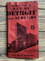 Vintage Map New Official Map Of Detroit And Suburbs