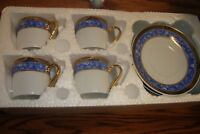 VINTAGE 8 Pc Demitasse design 8pc Collection Cups/Saucers Blue Marble-Gold Trim