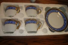 Formalities 8 Pc Demitasse Collection Cups & Saucers Blue Marble-Gold Trim