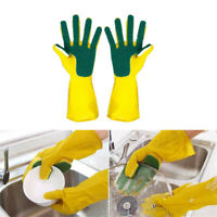Rubber Cleaning Gloves with Scouring Cloth Sponge Household Dish Washing Tool