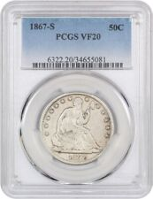 1867-S 50c PCGS VF20 - Liberty Seated Half Dollar