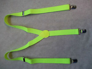 Braces MENS Suspenders NEW CLIP ON Adjustable ONE SIZE FLUORESCENT GREEN YELLOW