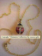 Russian Royal Empress Marie Lady Bug Egg Crystal Pendant Necklace