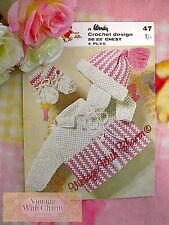 Vintage 60s Crochet Pattern Baby's Coat, Helmet & Mittens JUST £1.49!