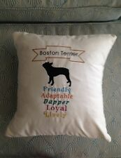 """Embroidered Boston Terrier Breed Lover Gift Traits Throw Pillows 14"""" X 14"""""""