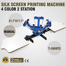 4 Color 2 Station Silk Screen Printing Machine Press Equipment T-Shirt Pressing