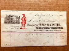 1893 Billhead for V.C.. & C.V. KING of KNICKERBOCKER PLASTER MILLS, West St. NYC