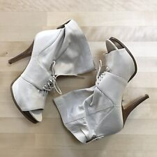 Nine West Womens Heels, Size 7M, Leather Beige Peep Toe