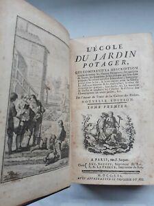 L'ECOLE DU JARDIN POTAGER - 1752 Raro Libro di Botanica in 2 Tomi (Tome 1 + 2)