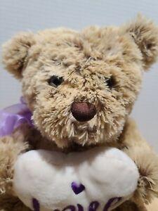 Dan Dee Collectors Choice Teddy Bear Tan Valentine Heart Love Pillow Purple 2019