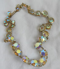 Art Deco Vintage Rainbow Rhinestone Crystal Necklace c 1930s